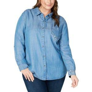Women's Plus Denim-Like Printed Button Down Shirt